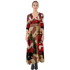 Karl Marx Santa  Button Up Boho Maxi Dress