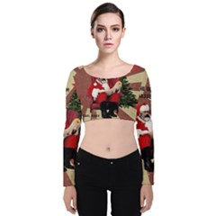 Karl Marx Santa  Velvet Long Sleeve Crop Top