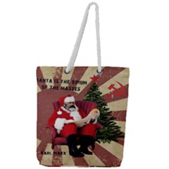 Karl Marx Santa  Full Print Rope Handle Tote (large)