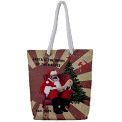 Karl Marx Santa  Full Print Rope Handle Bag (small)