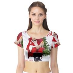 Karl Marx Santa  Short Sleeve Crop Top