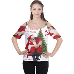 Karl Marx Santa  Cutout Shoulder Tee