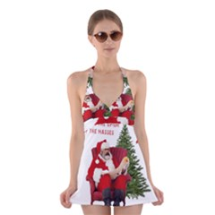Karl Marx Santa  Halter Dress Swimsuit