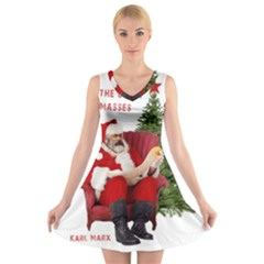 Karl Marx Santa  V Neck Sleeveless Skater Dress