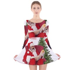 Karl Marx Santa  Long Sleeve Velvet Skater Dress