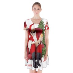 Karl Marx Santa  Short Sleeve V Neck Flare Dress