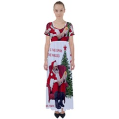 Karl Marx Santa  High Waist Short Sleeve Maxi Dress
