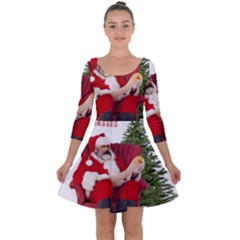 Karl Marx Santa  Quarter Sleeve Skater Dress
