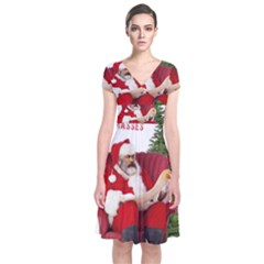 Karl Marx Santa  Short Sleeve Front Wrap Dress