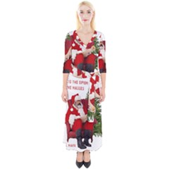 Karl Marx Santa  Quarter Sleeve Wrap Maxi Dress