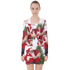 Karl Marx Santa  V Neck Bodycon Long Sleeve Dress