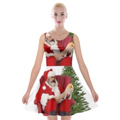 Karl Marx Santa  Velvet Skater Dress