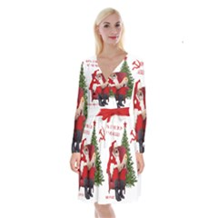 Karl Marx Santa  Long Sleeve Velvet Front Wrap Dress