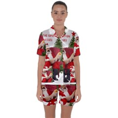 Karl Marx Santa  Satin Short Sleeve Pyjamas Set