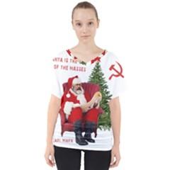 Karl Marx Santa  V Neck Dolman Drape Top