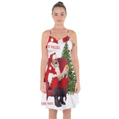 Karl Marx Santa  Ruffle Detail Chiffon Dress