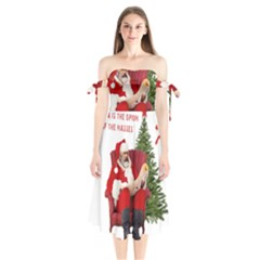 Karl Marx Santa  Shoulder Tie Bardot Midi Dress