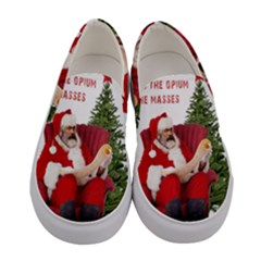 Karl Marx Santa  Women s Canvas Slip Ons
