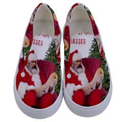 Karl Marx Santa  Kids  Canvas Slip Ons