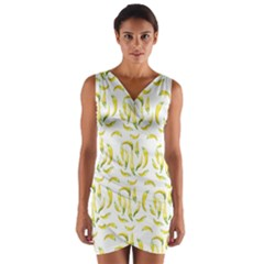 Chilli Pepers Pattern Motif Wrap Front Bodycon Dress