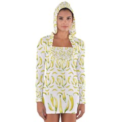 Chilli Pepers Pattern Motif Long Sleeve Hooded T Shirt