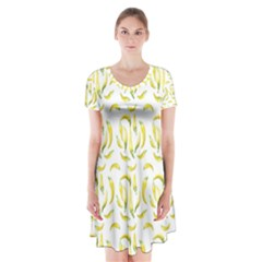 Chilli Pepers Pattern Motif Short Sleeve V Neck Flare Dress