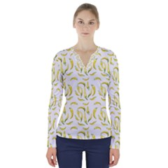 Chilli Pepers Pattern Motif V Neck Long Sleeve Top