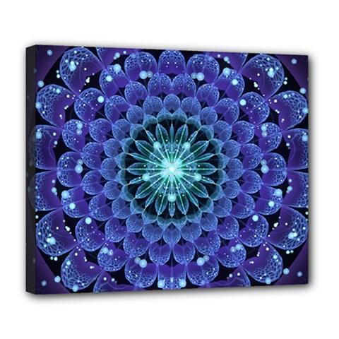 Accordant Electric Blue Fractal Flower Mandala Deluxe Canvas 24  X 20
