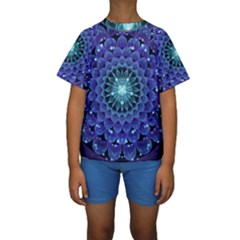 Accordant Electric Blue Fractal Flower Mandala Kids  Short Sleeve Swimwear