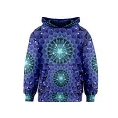 Accordant Electric Blue Fractal Flower Mandala Kids  Pullover Hoodie