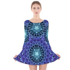 Accordant Electric Blue Fractal Flower Mandala Long Sleeve Velvet Skater Dress