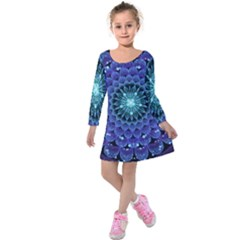 Accordant Electric Blue Fractal Flower Mandala Kids  Long Sleeve Velvet Dress