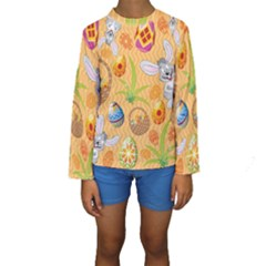 Easter Bunny And Egg Basket Kids  Long Sleeve Swimwear