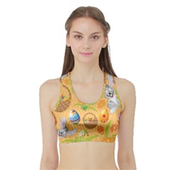 Easter Bunny And Egg Basket Sports Bra With Border