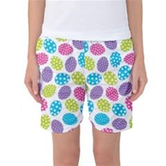 Polka Dot Easter Eggs Women s Basketball Shorts