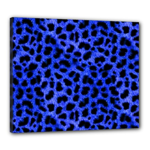 Blue Cheetah Print  Canvas 24  X 20