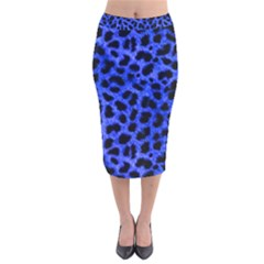 Blue Cheetah Print  Velvet Midi Pencil Skirt