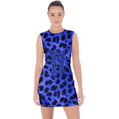 Blue Cheetah Print  Lace Up Front Bodycon Dress
