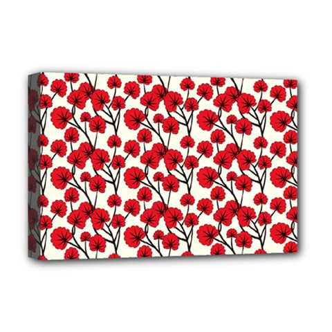 Red Flowers Deluxe Canvas 18  X 12