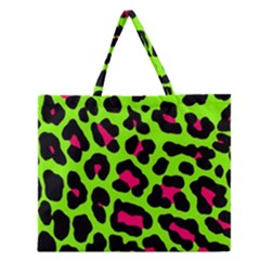 Neon Green Leopard Print Zipper Large Tote Bag