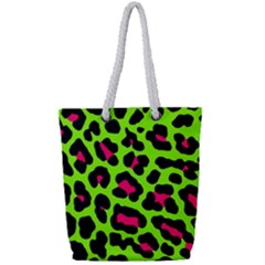 Neon Green Leopard Print Full Print Rope Handle Bag (small)