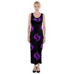 Purple Pisces On Black Background Fitted Maxi Dress