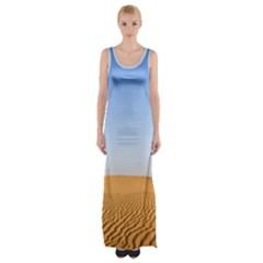Desert Dunes With Blue Sky Maxi Thigh Split Dress