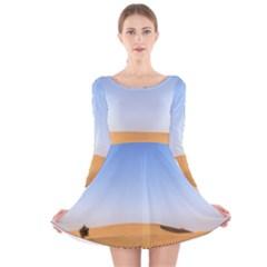 Desert Dunes With Blue Sky Long Sleeve Velvet Skater Dress