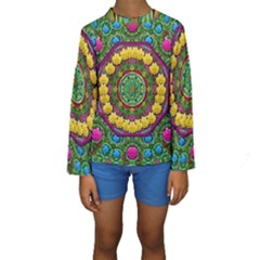 Bohemian Chic In Fantasy Style Kids  Long Sleeve Swimwear