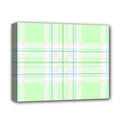 Green Pastel Plaid Deluxe Canvas 14  X 11