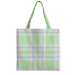 Green Pastel Plaid Zipper Grocery Tote Bag