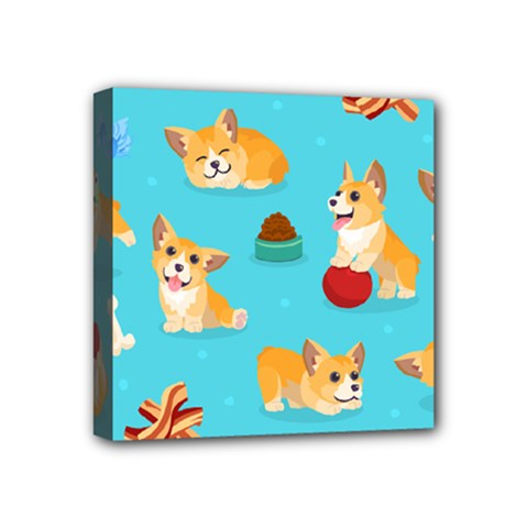 Corgi Pattern Mini Canvas 4  X 4