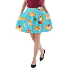 Corgi Pattern A Line Pocket Skirt