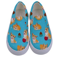 Corgi Pattern Kids  Canvas Slip Ons